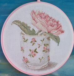 Pink peony in a cup. Cross-stitch. от mariorka на Etsy