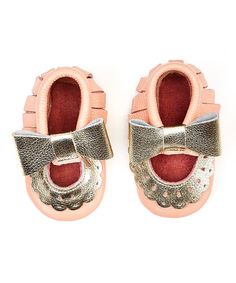 Gold & Pink Bow Leather Mary Jane Booties #zulily *adorable