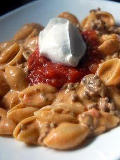 Taco Macaroni and Cheese (use TVP to make it veggie-friendly)