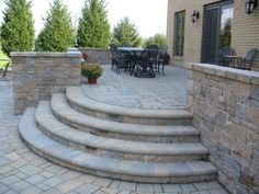 Semi circle stone steps from Outdoor Additions LLC.