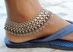 Antique tribal old silver anklet ankle chain belly danc
