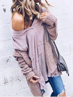Chicnico Fashion Pink Plain Single Breasted Long Sleeve Cardigan