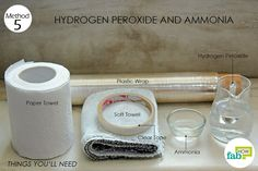 things you'll need for using ammonia and hydrogen peroxide to clean marble