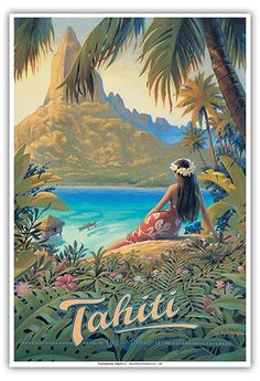 """""""Vintage Tropical Travel Posters""""-Time to dream of Hot Vacation Spots and Mai Tai's - The Vintage Inn Vintage Travel Posters, Vintage Postcards, Retro Posters, Some Beautiful Pictures, Cool Pictures, Tahiti Vacations, Bel Art, Top Travel Destinations, Tahiti"""