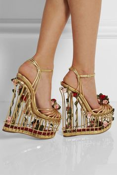 Extraordinary Dolce & Gabbana rose-embellished metallic leather cage sandals.