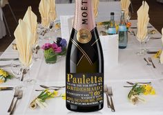 MINI CHAMPAGNE BOTTLE Label Bridesmaids Thank by LabelByLoveArts