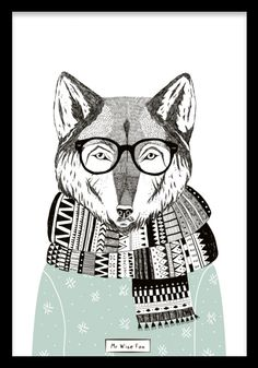 Elegant poster with the illustration of a sly fox. Stylish graphic illustration with subdued colors that have a cheery effect. Fits just as well in the nursery as in a postcard collage in the living r Cute Poster, Kids Poster, Fuchs Illustration, Graphic Illustration, Figure Painting, Diy Painting, Desenio Posters, Panda Art, Acrylic Paint Set