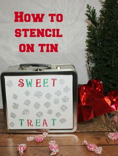 How to stencil on tin for holiday treats #StaplesSharpie #PMedia  #ad @Sharpie