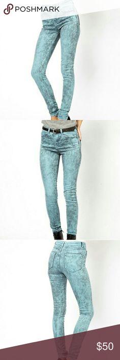 ASOS High Waist Ultra Skinny Jeans ASOS Ridley High Waist Ultra Skinny Jeans In Aqua Marble Wash US 10 LONG Asos Jeans Skinny
