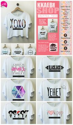 CHECK OUT KKAEB SONG SHOP ! They seriously have some of the coolest and cutest kpop merch i've ever seen (like these cropped tees for example :) ).   Their facebook page: http://www.facebook.com/kpopshopcatbalogan