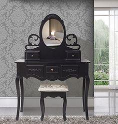 SEN210 Masă neagră de toaletă cu 5 sertare - http://www.emobili.ro/cumpara/sen210-set-masa-neagra-toaleta-cosmetica-machiaj-oglinda-masuta-scaun-719 #eMobili