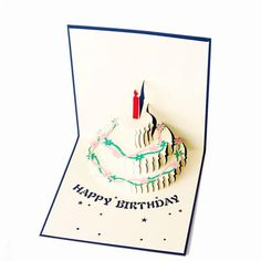 3D Happy Birthday Birthcake Candle Best Wishes Gift Greeting Card