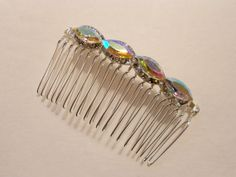 Aurora Borealis Rhinestone hair Comb by urbanaccessories4u on Etsy, $18.00