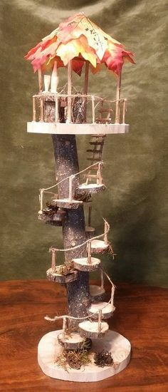 WOW! This is a wonderful addition to your collection. The Fairy Overlook comes with the look out tower, table and chair set plus the wine bottle and glasses set. The canopy for your Fairy Overlook can be ordered with the fall leaf or green leaf. Your Fairy Overlook stands 19 inches