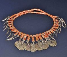 Traditional necklace, from an Armenian household in western Armenia (Anatolia), early 20th century.  Coral, white metal crescentic pendants and late-Ottoman coins.  (Recently restrung).