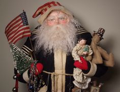 Handmade Patriotic Santa Claus-Toys~Doll & Teddy Bear By Kim Sweet~Kim's Klaus-Huge 33 inch Standing Santa on a Wooden Pull Toy-Dressed in Genuine Vintage Military Fabric & Antique Quilts-
