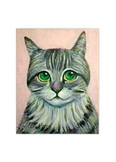 Original cat art painting of I Have Been A Good Boy by JingfenHwu, $155.00