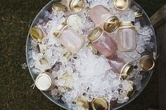 Pre-mixed mason jar drinks - best idea EVER! shave tons of money off of your alcohol budget by mixing up a big batch of your signature cocktail and bottling it up in mason jars. super easy wedding diy project!
