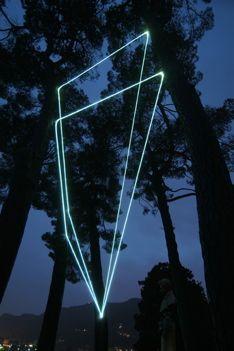 CARLO BERNARDINI, SPATIAL CODE 2009, Fiber optic installation, feet h from ground 36x14x33. Villa del Grumello, Como.