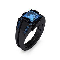 Mens Modern 14k Black Gold 2.0 Carat Princess Blue Topaz Wedding Ring R1020M-14KBGBT