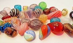 Hand blown glass beads. Look like candies!