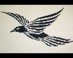 Crowe Cross Stitch Pattern, Tribal Cross Stitch Pattern, Raven Embroidery Chart, Trickster Crow Pattern, Black Bird Pattern Instant Download