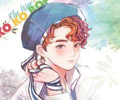 Suho kokobop The war Exo Kokobop, Kpop Exo, Suho, 5 Years With Exo, Exo Anime, Dog Comics, Exo Fan Art, Xiuchen, Girl And Dog