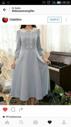 Grey midi dress with buttons Simple Dresses, Elegant Dresses, Cute Dresses, Vintage Dresses, Casual Dresses, Vintage Outfits, Vintage Fashion, Classy Outfits, Pretty Outfits