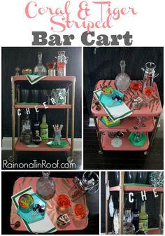 Coral & Tiger Striped Bar Cart via rainonatinroof.com #barcart #roadsiderescue