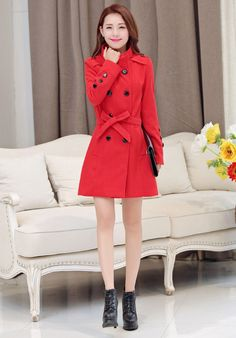 Double Breasted Stand Collar Belt Slim Long Plus Size Coat 5c54af3708