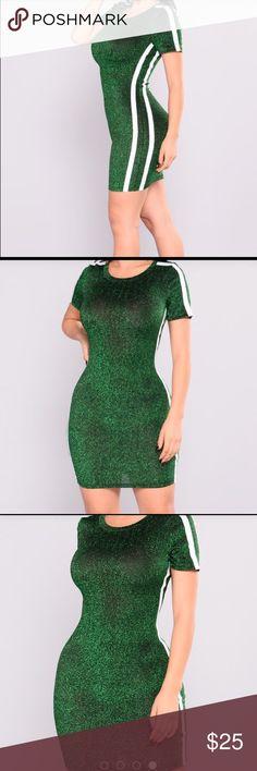 Green dress Perfect for this season. Beautiful green dress with 2 white strips Fashion Nova Dresses Mini
