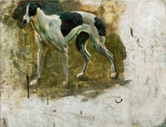 Study of a Black and White Greyhound by Alfred James Munnings