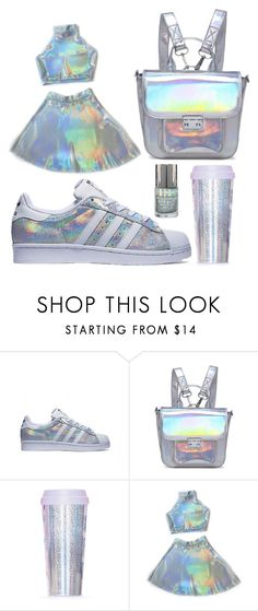 """""""The holographic outfit"""" by gabriella-hollis ❤ liked on Polyvore featuring Lamoda, ban.do, white, Blue, adidas and holographic"""