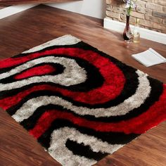 AllStar Rugs Geometric Thick, Wavy Lines, Area Rug. Size: x