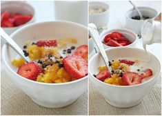 BUTTERNUT SQUASH PORRIDGE  This is definitely one of our go-to breakfasts! It's so easy: I just get up an hour before breakfast, throw the squash in the oven and then read a book and drink some tea. 45 minutes later…..we have the wonderful sweet aroma of squash/pumpkin, ready to come out of the oven. The kids love it …