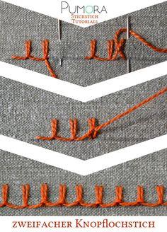 Pumora's Lexikon der Stickstiche: der zweifache Knopflochstich