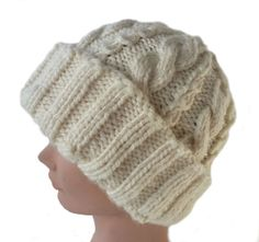 Cable Knit Hat  Chunky Cabled Hat  Thick Cable by stayinstitches, prices vary with size and fabric choices. Please, visit my shop on Etsy for more details.