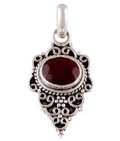 Victorian Sterling Silver Faceted Ruby Pendant