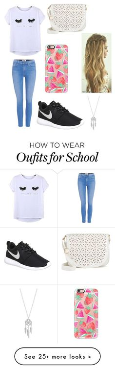 School Outfit by chloemooree on Polyvore featuring Chicnova Fashion, Paige Denim, NIKE, Under One Sky, Casetify and Lucky Brand