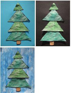 Kerstboom plakken: driehoeken laten uitknippen, van groot naar klein (grootste onderaan)