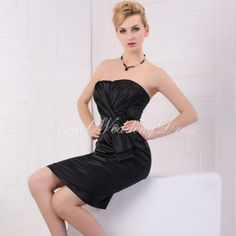 Elastic Silk Like Satin Sheath/ Column Strapless Short Length Natural Waist With Brooch Bridesmaid Dresses