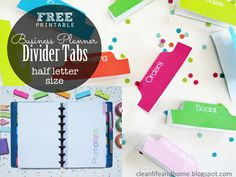 Clean Life and Home: Freebie Friday: Half Letter Size Divider Tabs & Pages for your Business Planner!