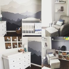 Woodland nursery. Gender neutral. Mountain mural, gray and white nursery, IKEA, Target Baby, RugsUSA, Baby Relax.
