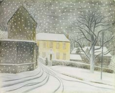 """englishmodernism: """"Eric Ravilious Halstead Road in the snow. I wish it would snow! Illustrations, Illustration Art, Christmas Illustration, Winter Szenen, Winter Magic, Collages, Charity Christmas Cards, Magic Realism, David Hockney"""