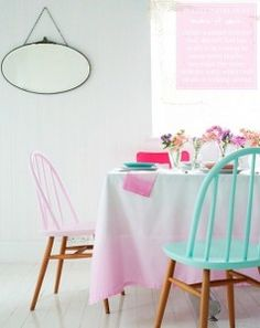 Sillas en colores pastel Styling by Charlotte Love Painted Chairs, Painted Furniture, Diy Furniture, Dipped Furniture, Ercol Furniture, Interior Inspiration, Room Inspiration, Deco Pastel, Ercol Chair