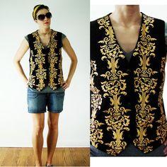 VINTAGE 1980s Black & Gold Leather EMBROIDERED Vest Damask Suede Unisex by MyGrayCatVintage, $44.50