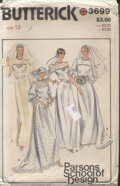 Butterick 3699 Vintage 1980s Parsons School of Design Wedding Dress Pattern B34