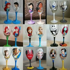 Hand Painted Disney Wine Glasses Of Your Choice!