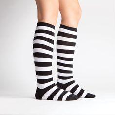 Wide Calf; Black & White Stripe | Women's Knee High | Sock It to Me