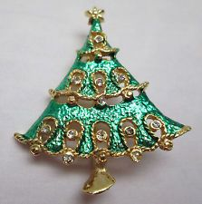 Vintage Pin Brooch Christmas Tree Green with White Rhinestones Gold Tone